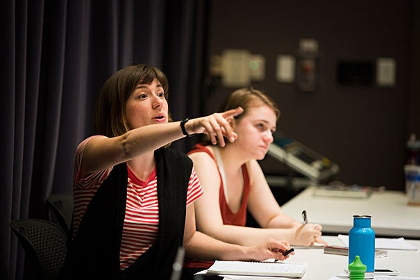 """In just two years, the Theater, Dance & Media Department (TDM) has seen extensive growth in concentrators and output. During rehearsal for """"Far Away,"""" TDM's latest theater production, Director Annie Tippe (left) and Assistant Director Sarah Grammar '18 give direction to actors."""