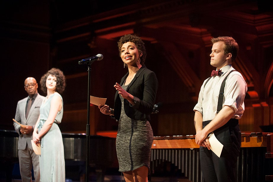 At a recent celebration of Harvard artists, Theater, Dance and Media (TDM) students, including Ashley LaLonde '20 (center) read quotations from noted Harvard alumni. The new TDM concentration received $5 million in seed funding provided by President Faust and was approved unanimously in April 2015 by a vote of the Faculty of Arts and Sciences. Jon Chase/Harvard Staff Photographer