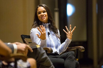 In a visit to Harvard, Misty Copeland shared her experience as the first African-American ballerina at the American Ballet Theatre, and talked about her book on positive body image and self-care.