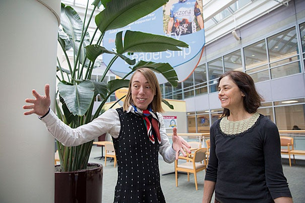 "HMS instructors and Joslin doctors Elvira Isganaitis (left) and Florence Brown are co-authors of a JAMA op-ed urging the federal WIC program to cut out fruit juices. ""When you're drinking a cup of apple juice, you're having a lot more calories than you would if you just ate a whole apple,"" Isganaitis said."