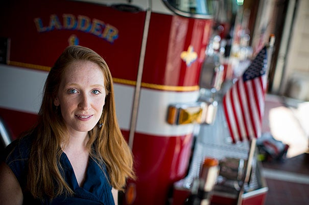 Harvard Chan School and Dana-Farber Cancer Institute postdoctoral fellow Emily Sparer is investigating the health risks of firehouses to understand why firefighters have increased rates of cancer.