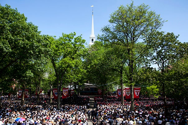 "Commencement Day student orators Auguste ""Gussie"" Roc, Jessica Glueck, and Walter Smelt III were chosen in a speech-writing competition to address Harvard's Class of 2017."
