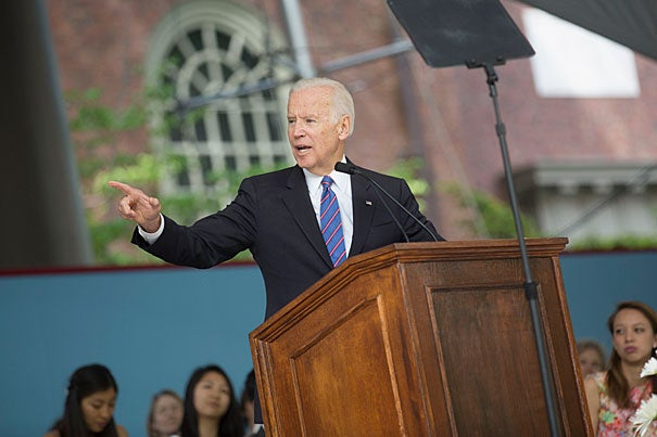 "Class Day speaker, former Vice President Joe Biden, urged seniors not to succumb to pressures that value ""the social trappings of success rather than really making a difference,"" but to choose what's best and most important to them."