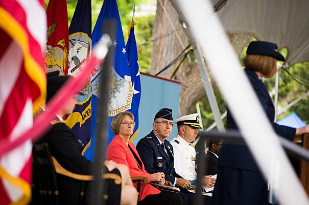 "Harvard President Drew Faust (left) and Gen. John  Hyten at the ROTC Commissioning Ceremony. ""You are receiving your commissions at a moment of extraordinary challenge for our society and the wider world,"" Faust told the graduates during the ceremony in Tercentenary Theatre."