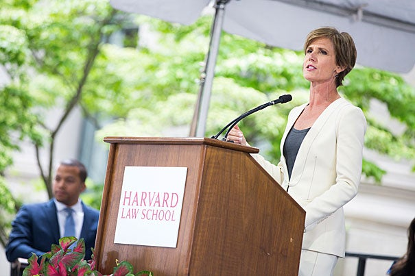 """You too will face weighty decisions where the law and conscience intertwine,"" former deputy attorney general Sally Yates told Law School students in her Class Day keynote. ""And while it may not play out in such a public way, the conflict that you'll feel will be no less real, and the consequences of your decision also significant."""