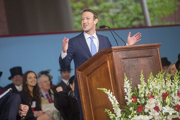 """I'm here to tell you finding your purpose isn't enough. The challenge for our generation is creating a world where everyone has a sense of purpose,"" said Mark Zuckerberg, who was the principal speaker at Harvard's 366th Commencement on May 25."