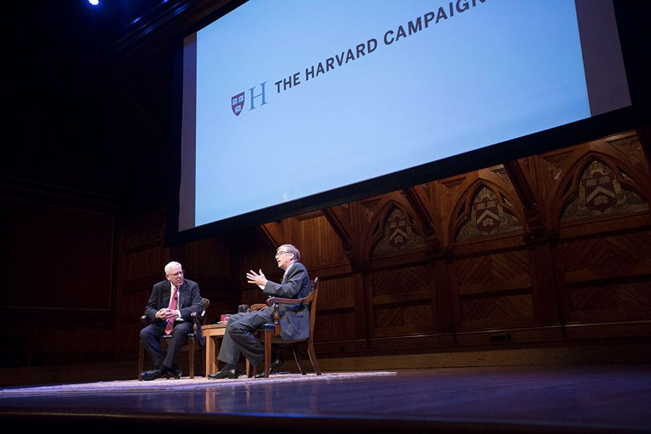 """Harvard launches The Harvard Campaign in 2013, seeking to articulate and affirm fundamental values of higher education. A conversation with William H. """"Bill"""" Gates III '77, LL.D. '07, and David M. Rubenstein, Harvard Campaign co-chair, takes place as part of the campaign launch inside Sanders Theatre. Kris Snibbe/Harvard Staff Photographer"""