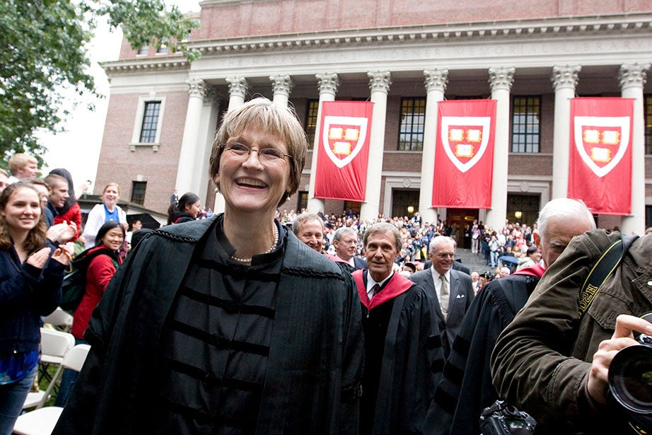 """Drew Faust is installed as Harvard University president at Tercentenary Theatre in Harvard Yard in October 2007. At the ceremony, she spoke about the community's """"unwavering belief in the purposes and potential of this University and in all it can do to shape how the world will look another half century from now."""" Rose Lincoln/Harvard Staff Photographer"""