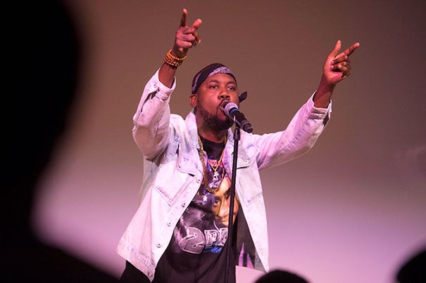 "Rapper Tef Poe, 2016-2017  American Democracy Project Fellow at the Charles Warren Center, headlined a free concert at the Ed Portal, featuring poets and musicians from Boston and Poe's native St. Louis as well as a full performance of his latest album ""Black Julian."""