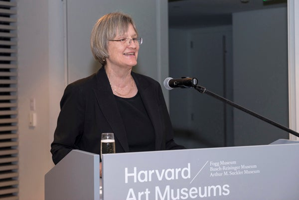 Harvard President Drew Faust speaking at HSDM's Sesquicentennial Gala.
