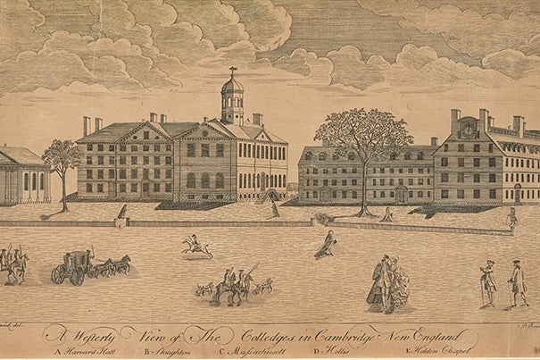 """Harvard Art Museums' new exhibit """"The Philosophy Chamber"""" is a recreation of the eponymous room located in Harvard Hall between 1766 and 1820.  Paul Revere's engraving """"A Westerly View of the Colledges in Cambridge, New England"""" (c. 1767) depicts Harvard in the late Colonial Era. Harvard Hall is the large building with the cupola."""