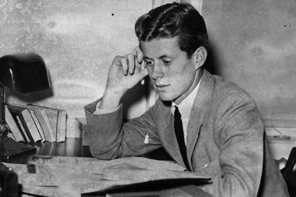 Harvard student John F. Kennedy studies at his desk ca. 1939. Credit: John F. Kennedy Library and Museum