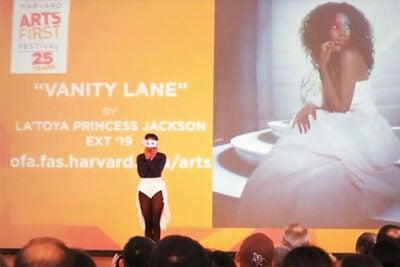 "Graduate student La'Toya Princess Jackson '19 presents her original ballet, ""Vanity Lane,"" during DanceFest at Arts First."