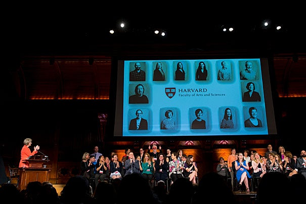 Harvard President Drew Faust (left) applauds the 2017 Harvard Heroes during the sixth annual awards ceremony which celebrates University staff who have shown extraordinary dedication to the University over the past academic year.