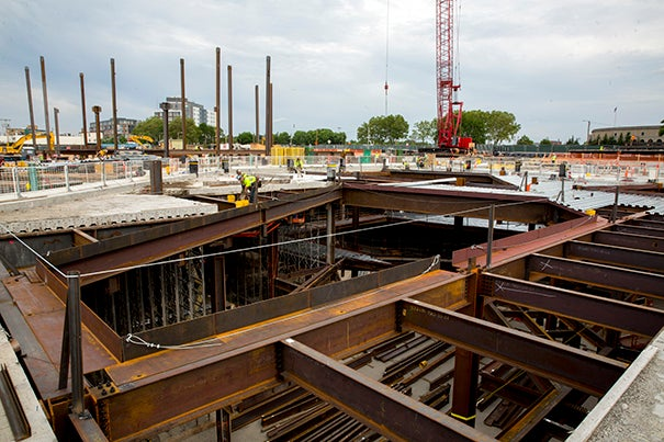 The Science and Engineering Complex, which will house the new Maker Space, begins to take shape as steel framing rises in Allston.
