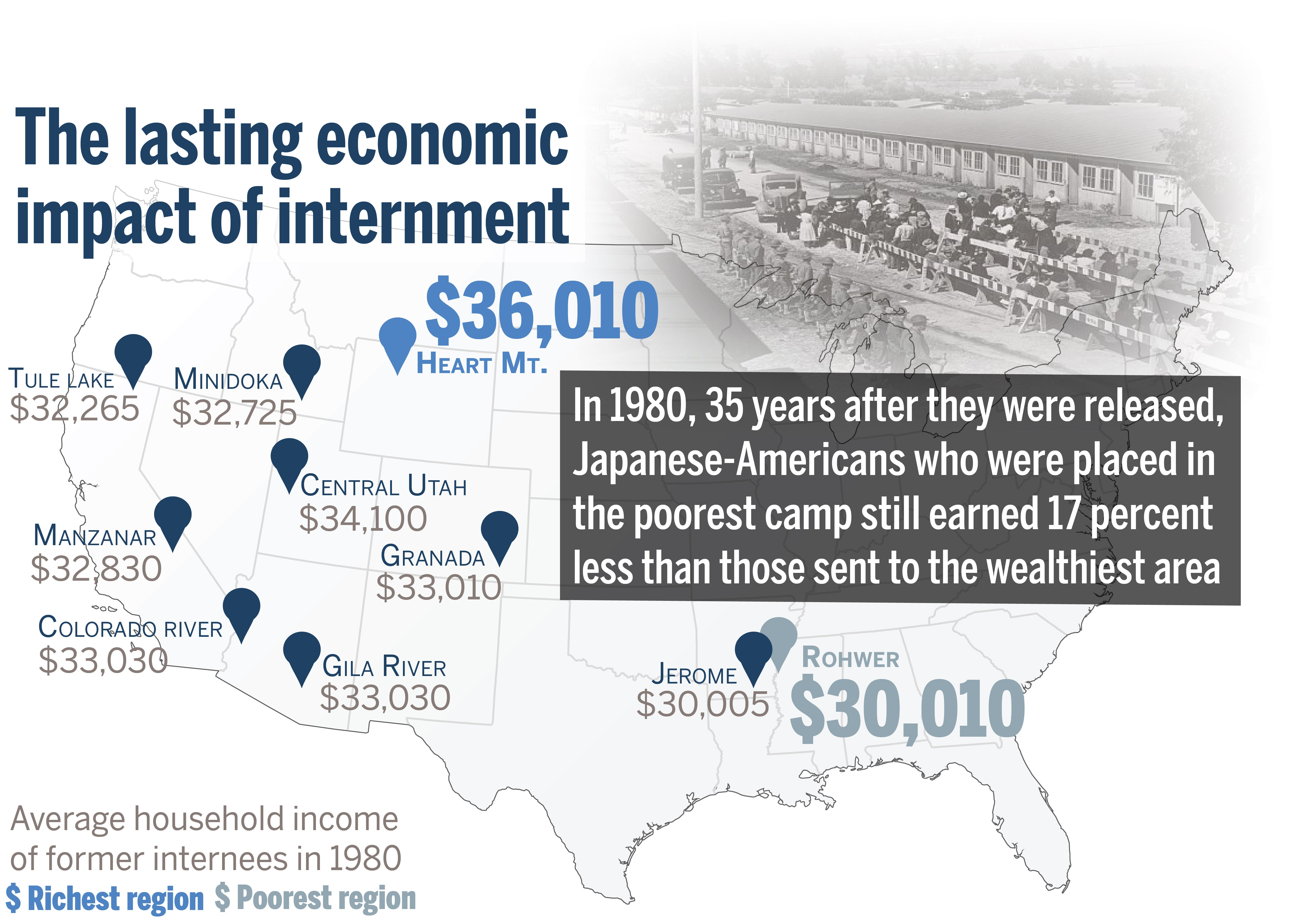 Location Of Wwii Internment Camp Linked To Long Term Economic - Map-of-japanese-internment-camps-in-us