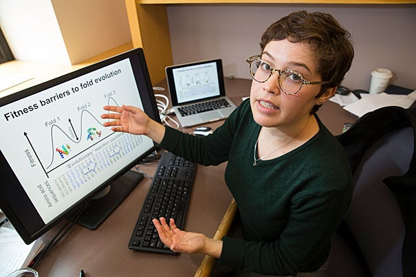 Amy Gilson is first author of a recent paper on the process of protein structure evolution, which can help researchers  design stable molecules for treatment.