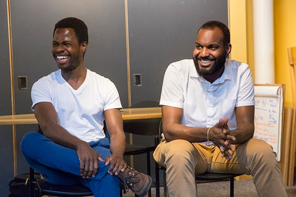 Crimson Summer Academy alums Jide Olanrewaju '07 (left) and Dana Mendes '09 share how the Academy helped to set them on their career paths with current CSA scholars.
