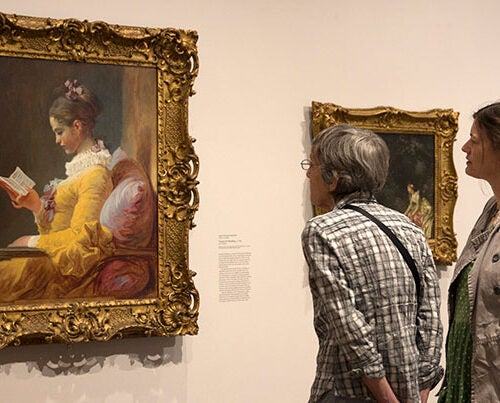 "Harvard Art Museums visitors admire ""Young Girl Reading"" by Jean-Honoré Fragonard, a highlight of the many loans and exchanges that the museums make with other art institutions."