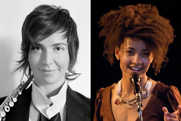 Renowned musicians and composers Claire Chase (left) and Esperanza Spalding will join the Music Department as professors of practice starting in the 2017-2018 academic year.