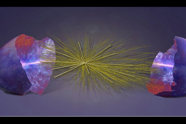 New research finds how the properties of subatomic elementary particles, visualized in the middle of this artist's impression, may be imprinted in the largest cosmic structures visible in the universe, shown on either side.