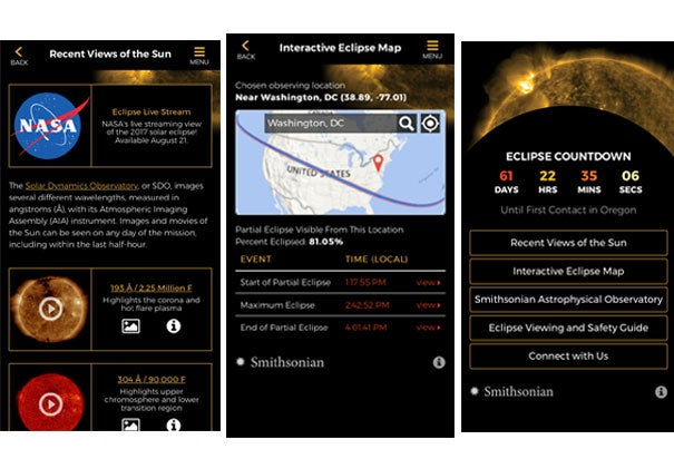 The Center for Astrophysics' new app, Eclipse 2017, comes with several features to prepare, learn, and watch the eclipse that will travel across the United States on Aug. 21.