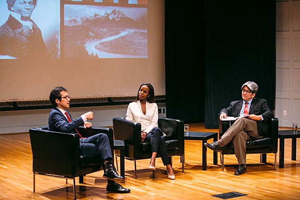 """Harvard Professor Archon Fung (from left), Assistant Professor Sarah Lewis '01, speak with Erik Takeshita, M.P.A. '06, at the Your Harvard: Twin Cities event. The theme: """"The Art of Change."""""""