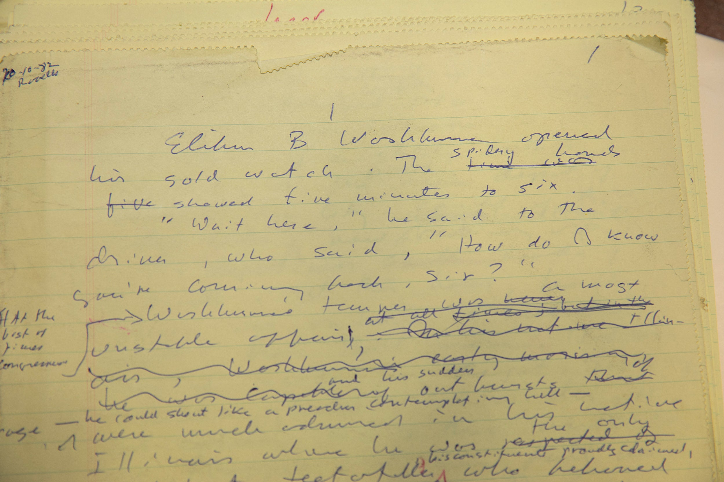 """Longhand draft of """"Lincoln"""" by Gore Vidal."""