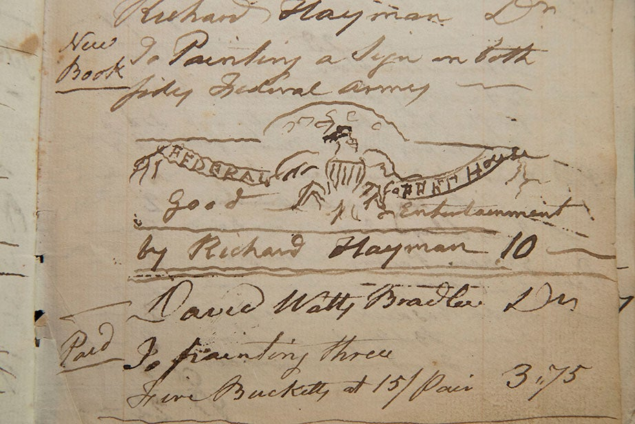 This sketch for a tavern sign was included in an account entry for Dec. 31, 1797. Daniel Rea Jr., a house painter, was paid $10 to make the sign for Richard Hayman. Daniel Rea & Son account books, Baker Library, Harvard Business School.