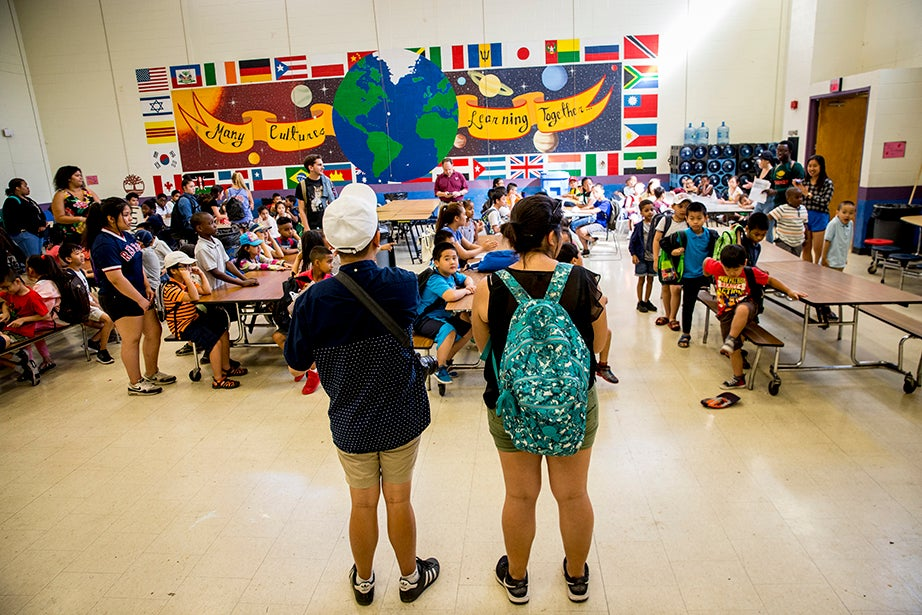 BRYE directors Thang Diep and Aileen Navarrete, both Harvard juniors, introduce themselves to students on the first day of camp.