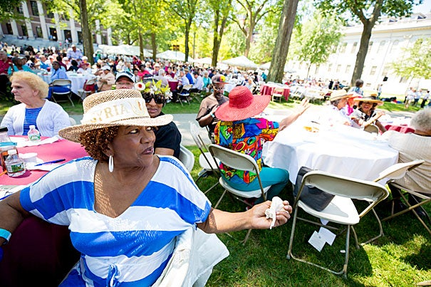 Shirley Johnson, of Cambridge, sports a hat at the Cambridge Senior Luncheon held annually in Harvard Yard.