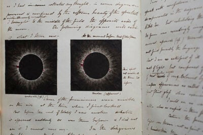 The Wolbach Library is putting together an exhibition of Harvard's observations of eclipses since the 19th century, including the papers (pictured) of George Phillips Bond, Harvard Observatory director from 1859 to 1865.