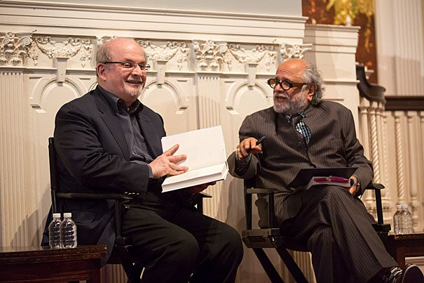 "Acclaimed author Salman Rushdie (left) discussed his latest novel ""The Golden House"" with Homi Bhabha, director of the Mahindra Humanities Center, and passed on advice to aspiring writers."