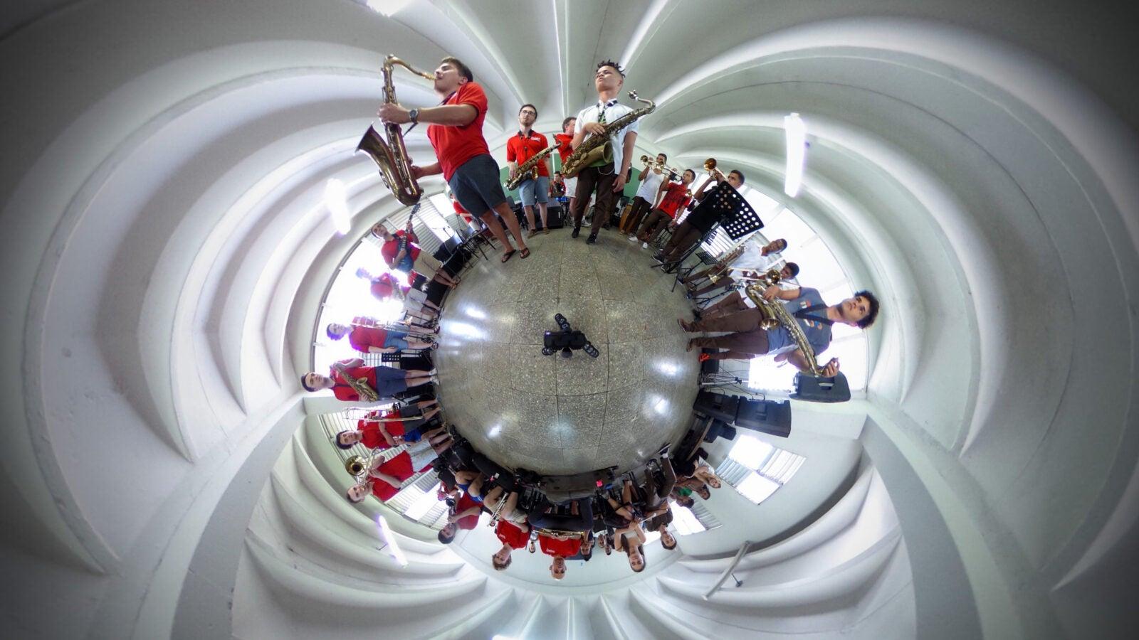 Harvard Jazz Band practices.