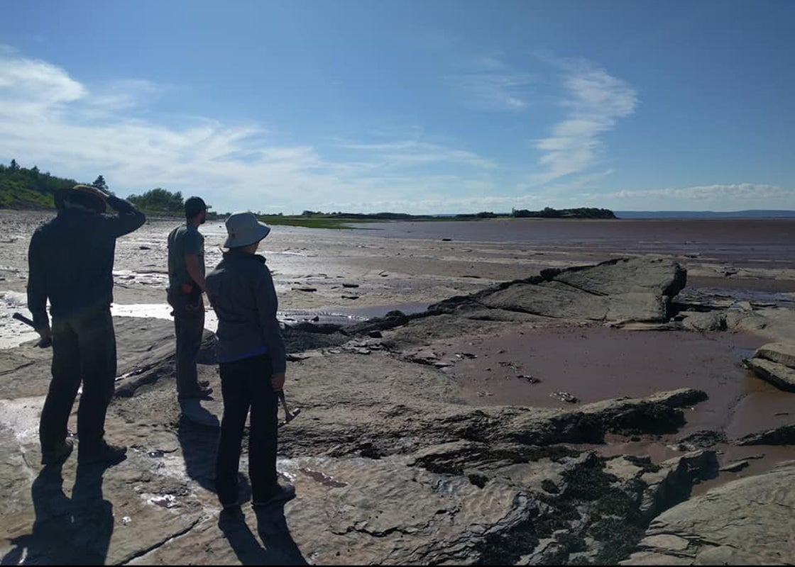 Stephanie Pierce, Chris Capobianco, and Blake Dickson survey the Bay of Fundy at Blue Beach, Nova Scotia.