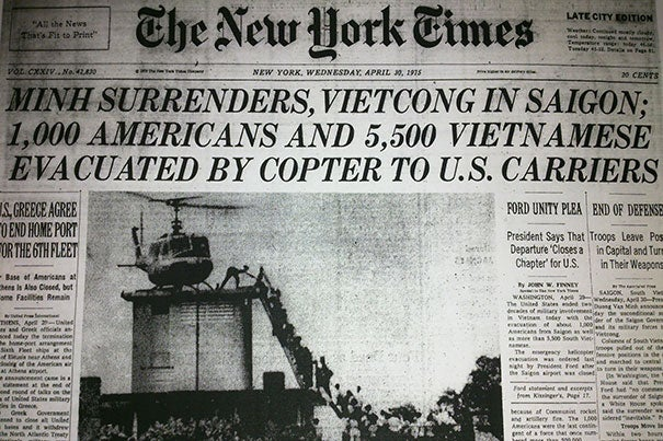 The front page of the New York Times from April 30, 1975, captured the evacuation of Saigon.