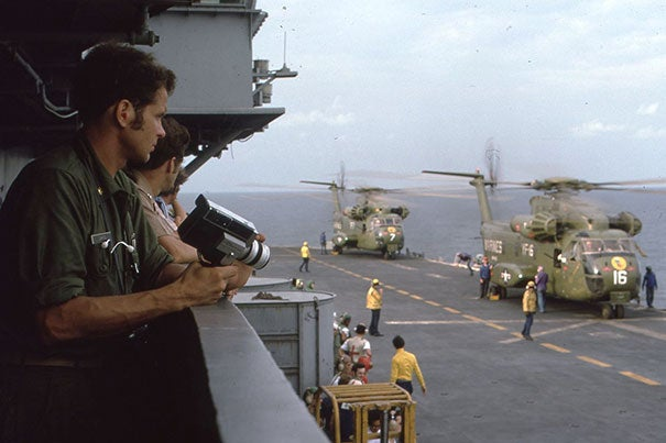 An amateur cameraman, Zarins captured the action unfolding on the deck of the USS Okinawa as he waited to deploy.