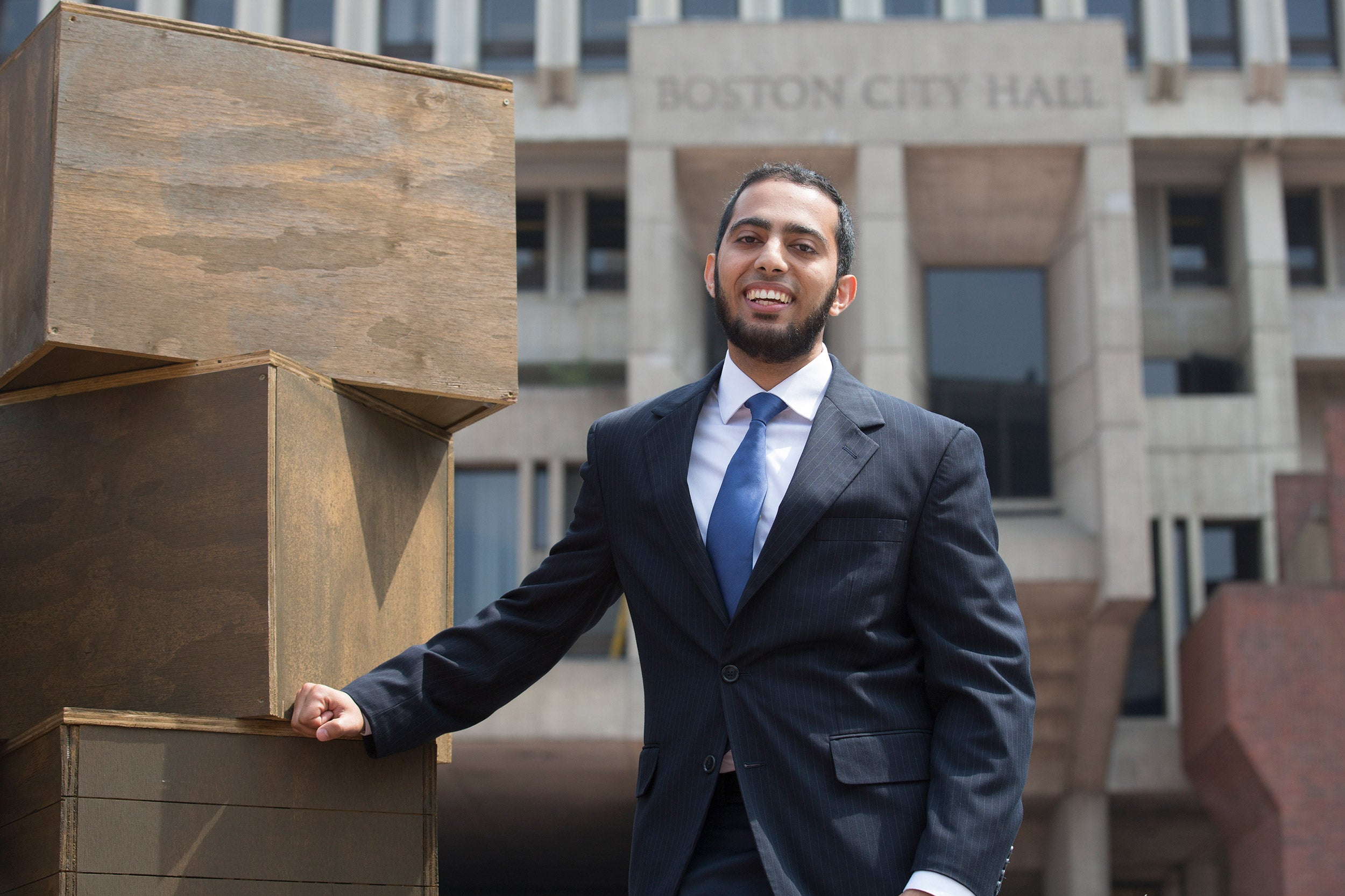 """""""It became important to me to look at how I could create meaningful community support ... especially [for] those who are minorities and those of color who are sometimes falling through the cracks in our system,"""" said Omar Khoshafa '17, a Harvard Presidential City of Boston Fellowship recipient."""
