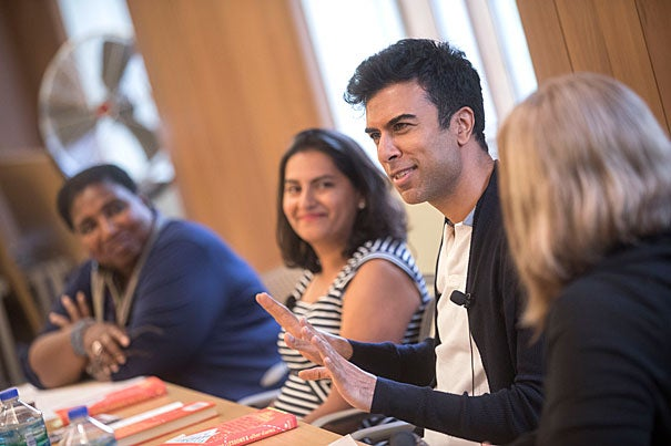 Moderator Callie Crossley (from left), Amitha Knight, Soman Chainani, and Ellen Oh discuss how the lack of diversity in children's literature limits the imaginations of all children.