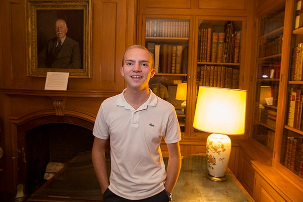 History concentrator and award-winning book collector Luke Kelly '19 is a perfect fit at Houghton Library, where he works every week.