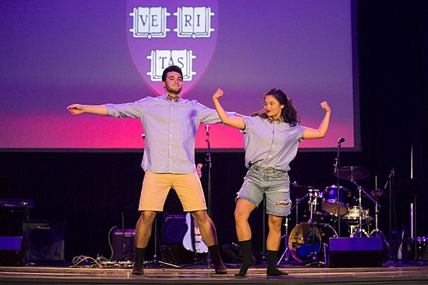 """João Paulo Krug Paiva '20 and Margaret Canady '20 perform the opening number of """"Question + Create,"""" an HAA celebration of the arts as a dynamic part of the University's curriculum."""