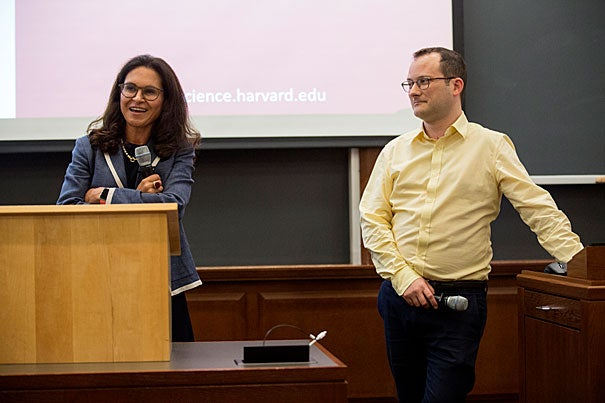 Harvard Data Science Initiative co-chairs Francesca Domimici (left) from HSPH and David Parkes from SEAS lead the first in a series of seminars to kickoff the Initiative's programs.
