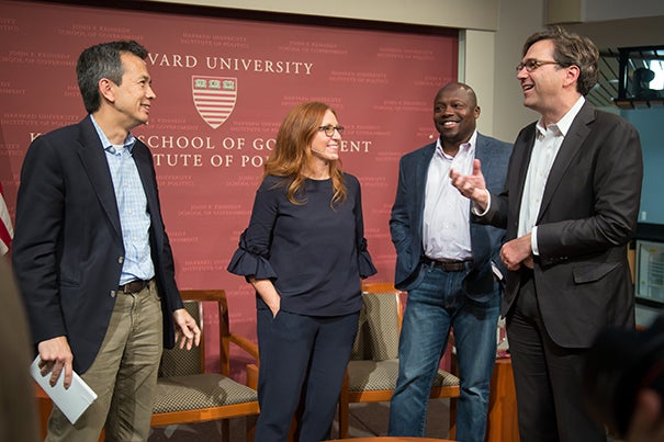 "Moderator Greg Ip (from left) chats with panelists Francesca Rossi, Wilson White, and Jason Furman following ""Will You Still Have a Job When the Robots Arrive?"" The answer? Yes, but probably not the one you have now."