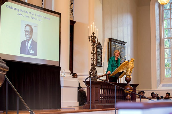 President Drew Faust remembered S. Allen Counter, Harvard professor, at the Memorial Church, Harvard University.