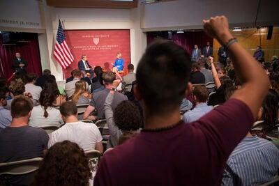 U.S. Secretary of Education Betsy DeVos speaks on the topic of school choice at a JFK Jr. Forum.