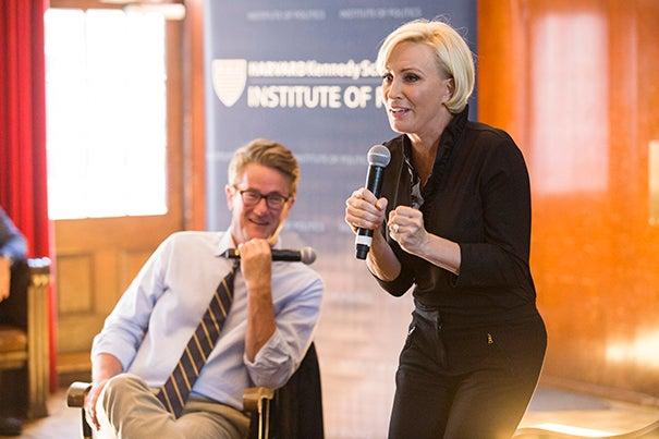 "MSNBC ""Morning Joe"" hosts Joe Scarborough and Mika Brzezinski visit fall fellows at IOP."