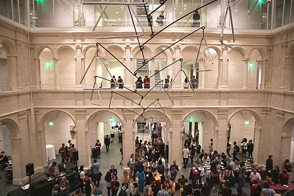More than 1,000 students turned out for Student Late Night at the Harvard Art Museums.  The Calderwood Courtyard was at the center of the party, where crowds danced and mingled.