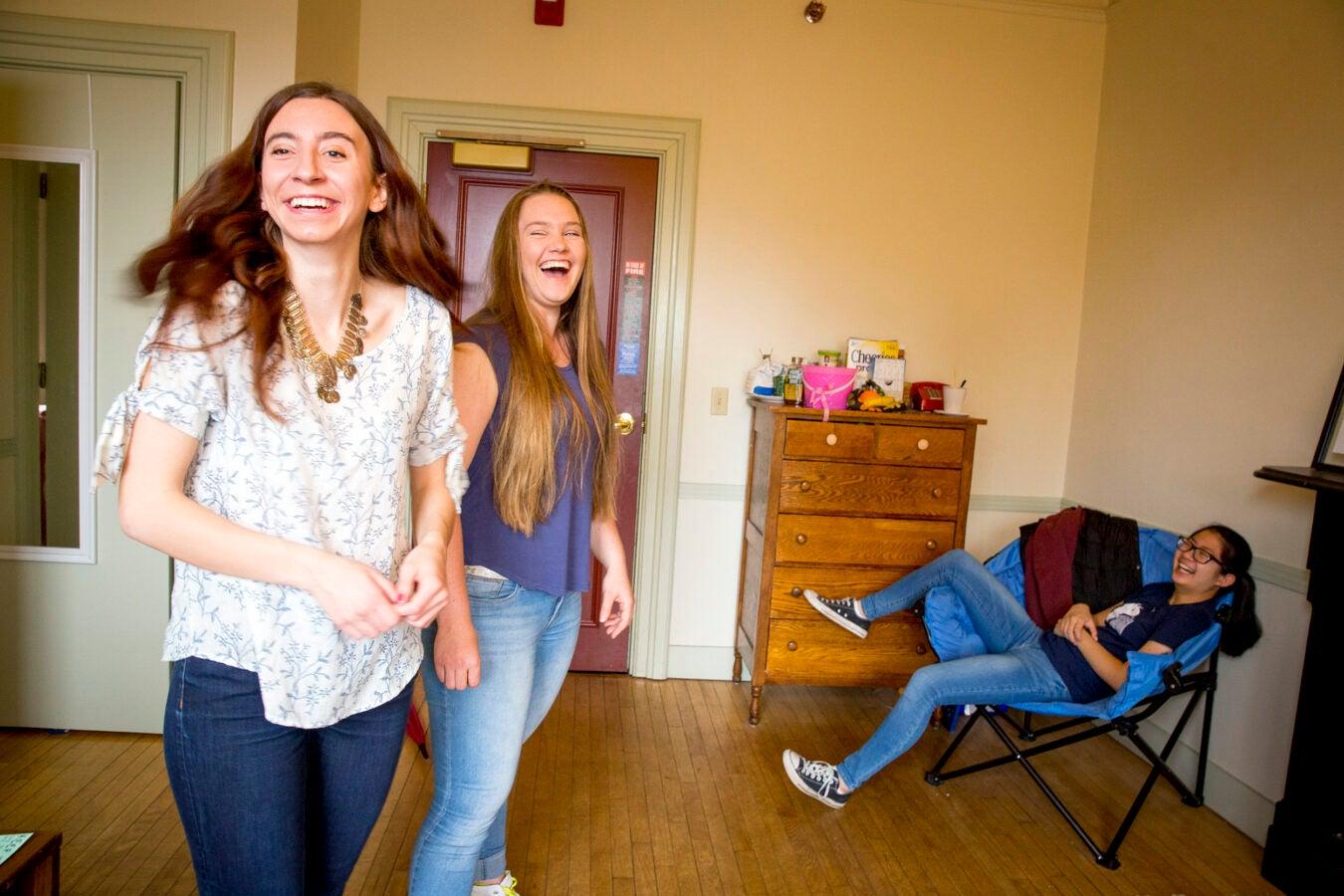 Thayer House freshmen friends, Kristie Colton, '20 of Utah (from left); Georgia Seidel, '20 of Australia, and Rebecca Chen, '20 of California are pictured in their dorm room.