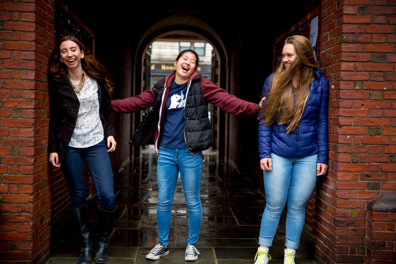 Thayer House freshmen friends, Kristie Colton, '20 of Utah (from left); Georgia Seidel, '20 of Australia, and Rebecca Chen, '20 of California.