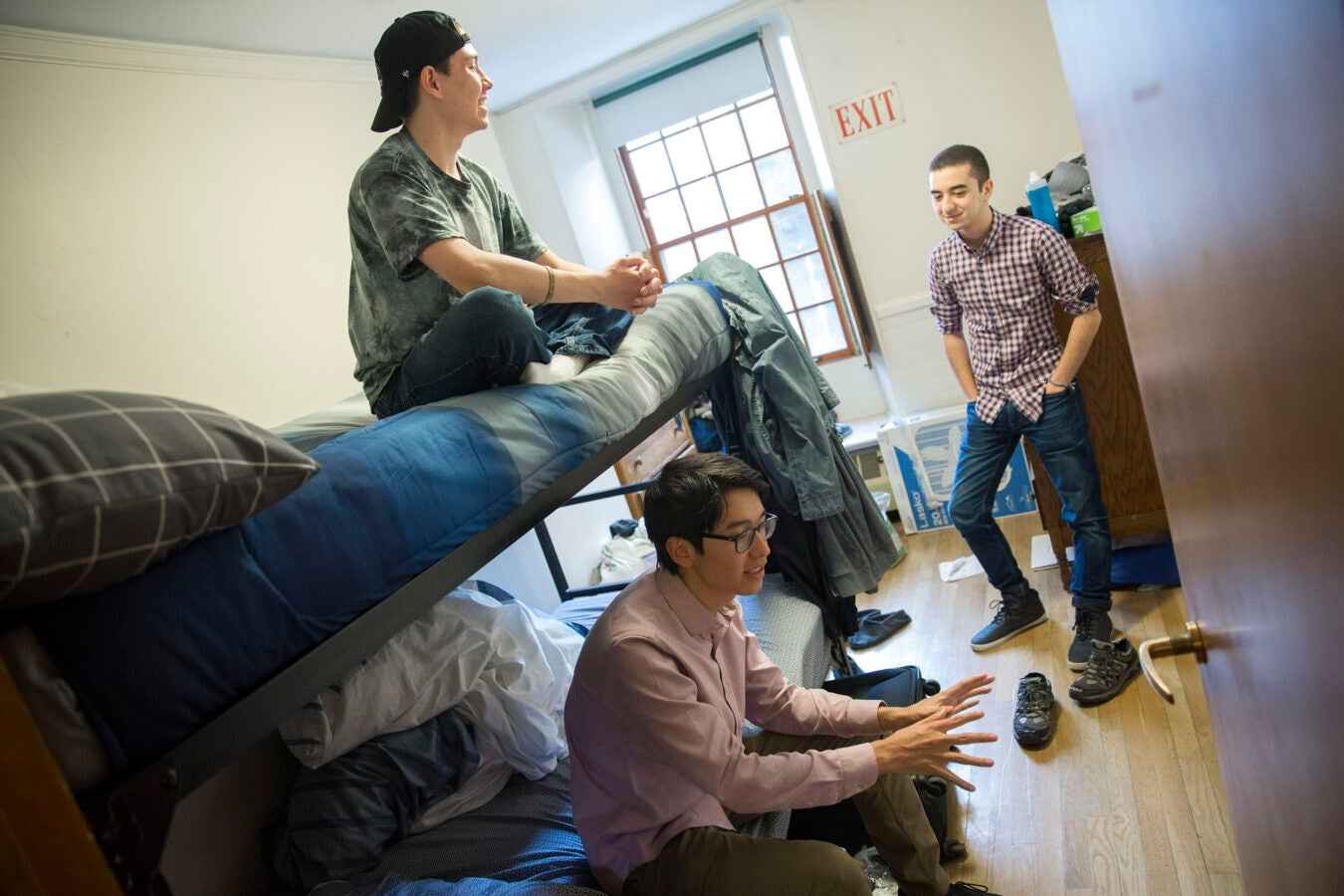 "Roommates, Clifford ""Scotty"" Courvoisier, (from upper left to right) Kenneth Shinozuka, and Abdelrhman ""Abdul"" Saleh, (from Egypt), All class of '20 live in Thayer House together."